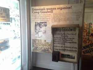 Camp Goodwill Sign - on display at the Evanston History Center
